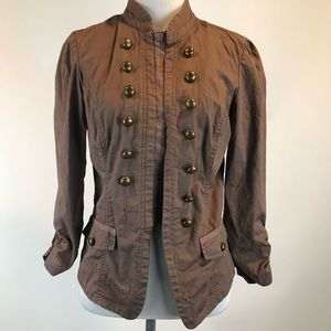 Maurice's Brown 3/4 Sl Military Cotton Jacket SZ S